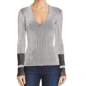Theory Optic Striped V Neck Sweater Top